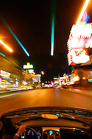 Driving down The Strip at night, Las Vegas, Nevada