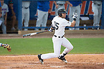 Logan Harvey (15) of the Wake Forest Demon Deacons lines a base hit to right field against the Florida Gators in Game Two of the Gainesville Super Regional of the 2017 College World Series at Alfred McKethan Stadium at Perry Field on June 11, 2017 in Gainesville, Florida.  (Brian Westerholt/Four Seam Images)