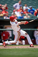Memphis Redbirds center fielder Harrison Bader (3) follows through on a swing during a game against the Iowa Cubs on May 29, 2017 at AutoZone Park in Memphis, Tennessee.  Memphis defeated Iowa 6-5.  (Mike Janes/Four Seam Images)