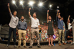 Spanish politician Inigo Errejon, Alberto Garzon, Pablo Iglesias, Carolina Bescansa and Irene Montera of Unidos Podemos party, after the results of the national elections at plaza Reina Sofia, Spain. 26,06,2016. (ALTERPHOTOS/Rodrigo Jimenez)