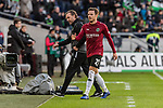 09.02.2019, HDI Arena, Hannover, GER, 1.FBL, Hannover 96 vs 1. FC Nuernberg<br /> <br /> DFL REGULATIONS PROHIBIT ANY USE OF PHOTOGRAPHS AS IMAGE SEQUENCES AND/OR QUASI-VIDEO.<br /> <br /> im Bild / picture shows<br /> Jubel 1:0, Nicolai M&uuml;ller / Mueller (Neuzugang Hannover 96 #21) bejubelt seinen Treffer zum 1:0 mit Thomas Doll (Trainer Hannover 96), <br /> <br /> Foto &copy; nordphoto / Ewert