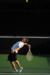 26 MAY 2011: Wes Waterman of Amherst serves the ball during the Division III Men's Tennis Championship held at the Biszantz Family Tennis Center and Pauley Tennis Complex in Claremont, CA. Amherst defeated Emory 5-2 for the national title. Stephen Nowland/NCAA Photos
