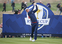 Justin Rose (Team Europe) at the 7th tee during Friday's Fourballs, at the Ryder Cup, Le Golf National, Îls-de-France, France. 28/09/2018.<br /> Picture David Lloyd / Golffile.ie<br /> <br /> All photo usage must carry mandatory copyright credit (© Golffile | David Lloyd)