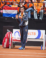 Netherlands, Den Bosch, April 18 2015 Maaspoort, Fedcup Netherlands-Australia,  Dutch captain Paul Haarhuis<br /> Photo: Tennisimages/Henk Koster