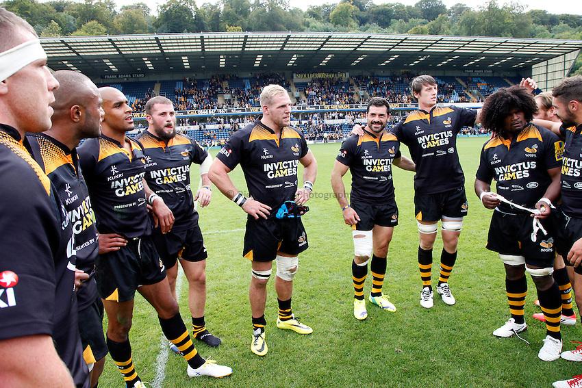 Photo: Richard Lane/Richard Lane Photography. Aviva Premiership. Wasps v Northampton Saints. 14/09/2014. Wasps players.