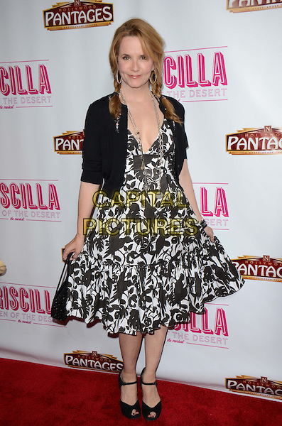 Lea Thompson<br /> Tony Award-Winning Broadway Musical 'Priscilla Queen Of The Desert&quot; celebrates its L.A. Premiere at Pantages Theatre, Hollywood, California, USA.<br /> May 29th, 2013<br /> full length black white pattern print dress cardigan braids plaits <br /> CAP/ADM/TW<br /> &copy;Tonya Wise/AdMedia/Capital Pictures
