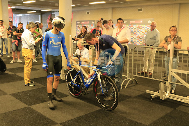 Aleksey Rybalkin (RUS) Gazprom-Rusvelo has his bike scanned before starting Stage 1 of the 2016 Giro d'Italia, an individual time trial of 9.8km around Apeldoorn, The Nethrerlands. 6th May 2016.<br /> Picture: Eoin Clarke | Newsfile<br /> <br /> <br /> All photos usage must carry mandatory copyright credit (&copy; Newsfile | Eoin Clarke)