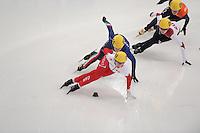 "SHORT TRACK: MOSCOW: Speed Skating Centre ""Krylatskoe"", 13-03-2015, ISU World Short Track Speed Skating Championships 2015, Marianne ST-GELAIS (#009 | CAN), Elena VIVIANI (#035 | ITA), Evgeniya ZAKHAROVA (#058 | RUS), ©photo Martin de Jong"