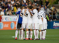 Real Salt Lake players huddle together before the second half of the game against the Earthquakes at Buck Shaw Stadium in Santa Clara, California on March 27th, 2010.   Real Salt Lake defeated San Jose Earthquakes, 3-0.