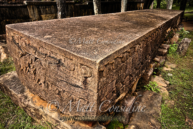 Called a Stone Book, this massive 11th century slab sings praises to King Nissanka Malla.  The writing on the stone is really an ancient piece of royal propaganda.  The stone was dragged over 100 km, before resting here for a millenium.<br /> (Photo by Matt Considine - Images of Asia Collection)