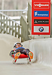 5 December 2014: Stanislav Benyov, sliding for Bulgaria, crosses the finish line on his first run, ending the day with a 27nd place finish and a combined 2-run time of 1:48.024 in the Men's Competition at the Viessmann Luge World Cup, at the Olympic Sports Track in Lake Placid, New York, USA. Mandatory Credit: Ed Wolfstein Photo *** RAW (NEF) Image File Available ***
