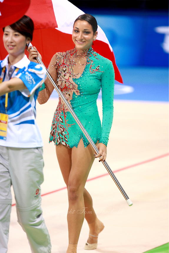 August 22, 2008; Beijing, China; Rhythmic gymnast Alexandra Orlando of Canada carries flag during march-in ceremony before qualifying round at 2008 Beijing Olympics..(©) Copyright 2008 Tom Theobald