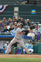 Frederick Keys outfielder Tad Gold (7) at bat during a game against the Myrtle Beach Pelicans at Ticketreturn.com Field at Pelicans Ballpark on April 10, 2016 in Myrtle Beach, South Carolina. Myrtle Beach defeated Frederick 7-5. (Robert Gurganus/Four Seam Images)