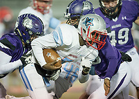 NWA Democrat-Gazette/CHARLIE KAIJO Southside High School quarterback Taye Gatewood (5) runs the ball during a playoff football game on Friday, November 10, 2017 at Fayetteville High School in Fayetteville.