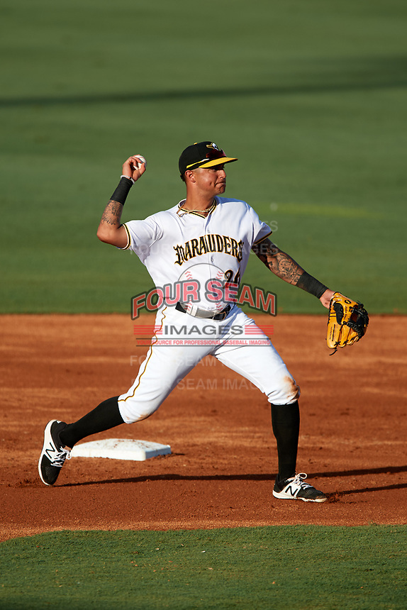 Bradenton Marauders shortstop Stephen Alemais (26) throws to first base during a game against the Clearwater Threshers on July 24, 2017 at LECOM Park in Bradenton, Florida.  Bradenton defeated Clearwater 6-3  (Mike Janes/Four Seam Images)