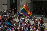 NEW YORK JUNE 25:  Thousands of people holding flags cheer the marchers walking down 5th Ave in the annual New York Gay Pride Parade on June 25, 2017 in New York. (Photo by Maite H. Mateo/VIEWpress/Corbis via Getty Images)