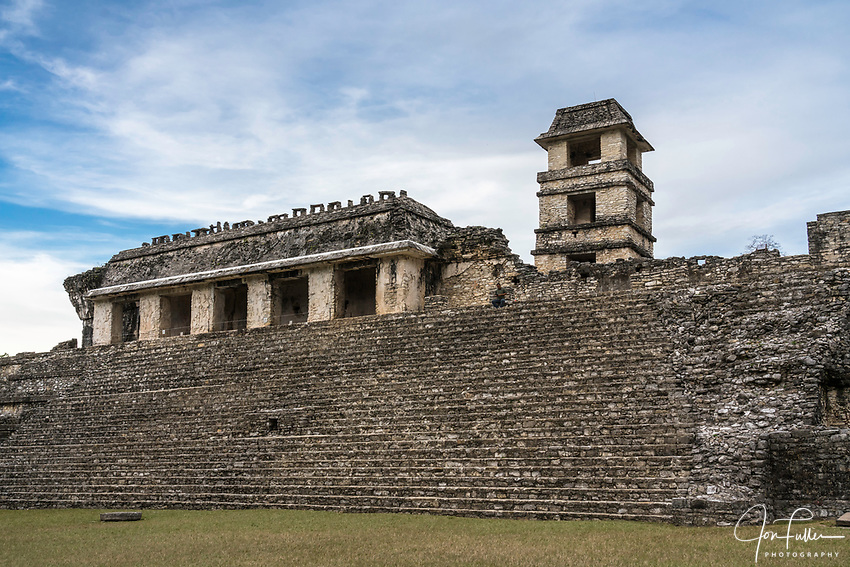 The Palace with its tower in the ruins of the Mayan city of Palenque,  Palenque National Park, Chiapas, Mexico.  A UNESCO World Heritage Site.