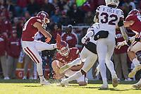NWA Democrat-Gazette/BEN GOFF @NWABENGOFF<br /> Connor Limpert, with Jack Lindsey holding, kicks a field goal from the 40 yard line for Arkansas in the second quarter vs Mississippi State Saturday, Nov. 2, 2019, at Reynolds Razorback Stadium in Fayetteville.