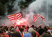June 4th 2017, Estadi Montilivi,  Girona, Catalonia, Spain; Spanish Segunda División Football, Girona versus Zaragoza; Girona fans with flags and flares pre-game