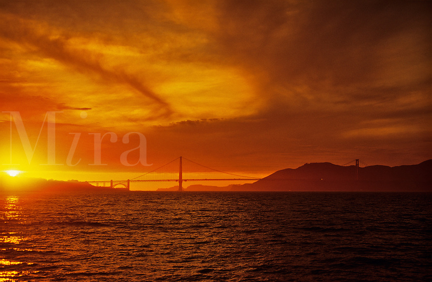 San Francisco, Golden Gate Bridge at sunset.  California. USA.