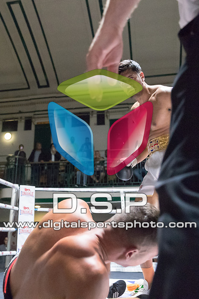 Harjeet Singh vs Toni Bilic 4x3 - Cruiserweight Contest During Goodwin Boxing - Heaven or Hell. Photo by: Simon Downing.<br /> <br /> Saturday September 9th 2017 - York Hall, Bethnal Green, London, United Kingdom.