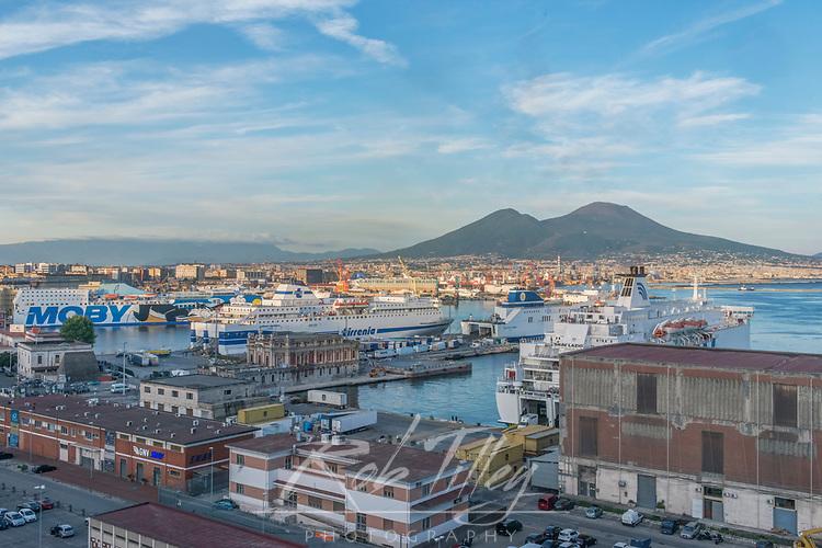Europe, Italy, Naples, Naples Waterfront & Mt. Vesuvias