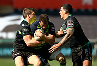 Leinster's Zane Kirchner under pressure from Ospreys' Dan Biggar and Josh Matavesi<br /> <br /> Photographer Simon King/CameraSport<br /> <br /> Guinness PRO12 Round 19 - Ospreys v Leinster Rugby - Saturday 8th April 2017 - Liberty Stadium - Swansea<br /> <br /> World Copyright &copy; 2017 CameraSport. All rights reserved. 43 Linden Ave. Countesthorpe. Leicester. England. LE8 5PG - Tel: +44 (0) 116 277 4147 - admin@camerasport.com - www.camerasport.com