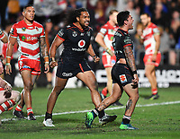 Issac Luke celebrates his try as Bunty Afoa looks on.<br /> NRL Premiership rugby league. Vodafone Warriors v St George Illawarra. Mt Smart Stadium, Auckland, New Zealand. Friday 20 April 2018. &copy; Copyright photo: Andrew Cornaga / www.Photosport.nz
