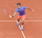 Roger Federer (SUI) defeats Damir Dzumhur (BIH) 6-4, 6-3, 6-2 at  Roland Garros being played at Stade Roland Garros in Paris, France on May 29, 2015
