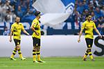 15.04.2018, VELTINS Arena, Gelsenkirchen, Deutschland, GER, 1. FBL, FC Schalke 04 vs. Borussia Dortmund, im Bild Oemer Toprak (#36 Dortmund), Mahmoud Dahoud (#19 Dortmund), Nuri Sahin (#8 Dortmund) entt&auml;uscht / enttaeuscht / traurig  nach 1-0 Schalke<br /> <br /> Foto &copy; nordphoto / Kurth