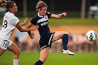 Sky Blue FC midfielder Sophie Schmidt (16) is marked by FC Kansas City midfielder Kristie Mewis (19). Sky Blue FC and FC Kansas City played to a 2-2 tie during a National Women's Soccer League (NWSL) match at Yurcak Field in Piscataway, NJ, on June 26, 2013.