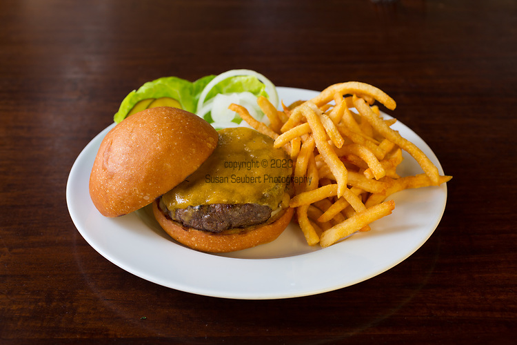 The classic cheeseburger at Castagna Cafe, a restaurant in SE Portland, Oregon