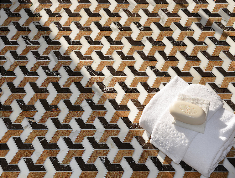 Francois Grand, a waterjet mosaic shown in polished Saint Laurent, Calacatta and Topaz Onyx, is part of the Illusions® collection by New Ravenna.