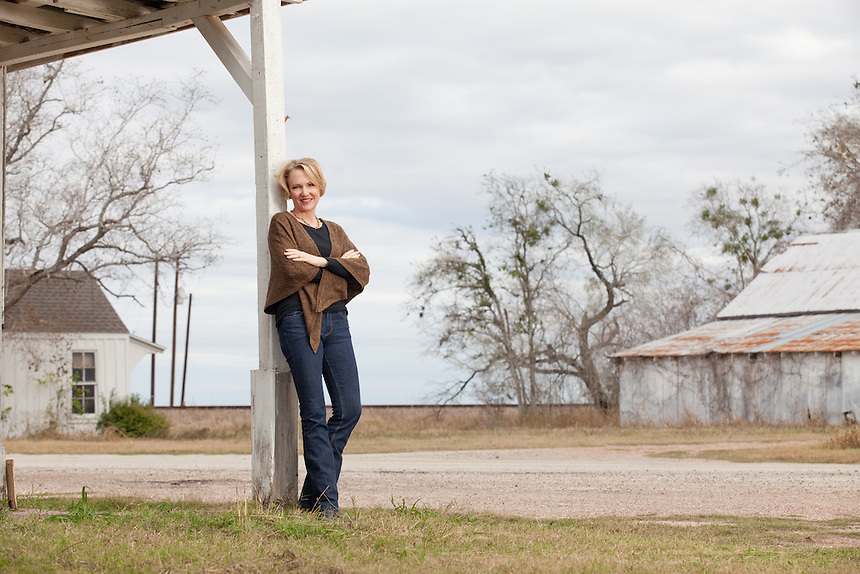 Portrait of Cally Fromme in McFaddin, Texas. Ms. Fromme is president of Zarsky lumber company in Victoria, Texas.