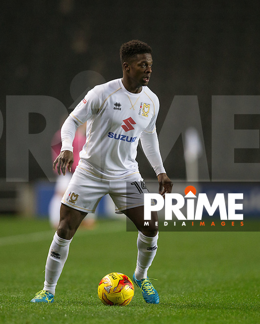 Kieran Agard of Milton Keynes Dons during the Sky Bet League 1 match between MK Dons and Chesterfield at stadium:mk, Milton Keynes, England on 22 November 2016. Photo by Andy Rowland.