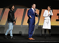 LAS VEGAS, NV - APRIL 25: (L-R) Actors Jorge Lendeborg Jr., John Cena, Hailee Steinfeld onstage during the Paramount Pictures presentation at CinemaCon 2018 at The Colosseum at Caesars Palace on April 25, 2018 in Las Vegas, Nevada. (Photo by Frank Micelotta/PictureGroup)