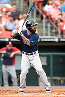 Pawtucket Red Sox designated hitter Ryan Roberts (17) at bat during a game against the Buffalo Bisons on August 26, 2014 at Coca-Cola Field in Buffalo, New  York.  Pawtucket defeated Buffalo 9-3.  (Mike Janes/Four Seam Images)