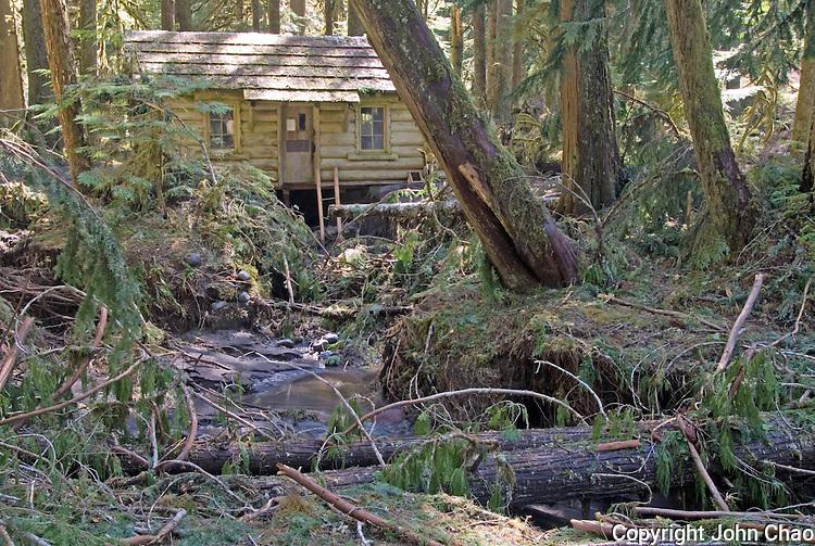 Ipsut Creek Ranger Cabin in the aftermath of November, 2006 flood, Carbon River Rainforest, Mount Rainier National Park, Washington State