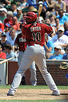 Arizona Diamondbacks right fielder Justin Upton #10 awaits a pitch during a game against the Chicago Cubs at Wrigley Field on July 15, 2012 in Chicago, Illinois. The Cubs defeated the Diamondbacks 3-1. (Tony Farlow/Four Seam Images).