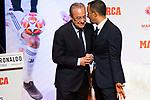 Cristiano Ronaldo's representative Jorge Mendes (r) whispers something to President of Real Madrid Florentino Perez during the ceremony of 'Marca Leyenda' award. July 29, 2019. (ALTERPHOTOS/Francis González)