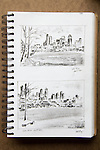 Seattle, skyline from Lake Union, Joel Rogers, Journal Art 2002, ink and charcoal on paper,