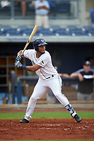 Charlotte Stone Crabs center fielder Angel Moreno (1) at bat during the first game of a doubleheader against the Tampa Yankees on July 18, 2017 at Charlotte Sports Park in Port Charlotte, Florida.  Charlotte defeated Tampa 7-0 in a game that was originally started on June 29th but called to inclement weather.  (Mike Janes/Four Seam Images)