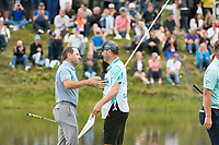 Sergio Garcia (ESP) and his caddie on the 18th hole during the final round at the KLM Open, The International, Amsterdam, Badhoevedorp, Netherlands. 15/09/19.<br /> Picture Stefano Di Maria / Golffile.ie<br /> <br /> All photo usage must carry mandatory copyright credit (© Golffile | Stefano Di Maria)
