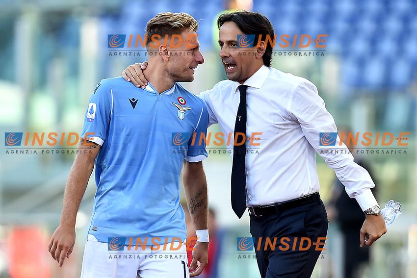 Ciro Immobile of SS Lazio celebrates with his coach Simone Inzaghi after scoring the goal of 4-0 for his side <br /> Roma 29-9-2019 Stadio Olimpico <br /> Football Serie A 2019/2020 <br /> SS Lazio - Genoa CFC <br /> Foto Andrea Staccioli / Insidefoto