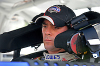 Aug. 7, 2009; Watkins Glen, NY, USA; NASCAR Sprint Cup Series driver Jimmie Johnson after his pole winning run during qualifying for the Heluva Good at the Glen. Mandatory Credit: Mark J. Rebilas-
