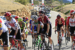 Tao Geoghegan Hart (GBR) Team Ineos in the grupetto on the final Cat 1 climb up to Observatorio Astrofisico de Javalambre during Stage 5 of La Vuelta 2019 running 170.7km from L'Eliana to Observatorio Astrofisico de Javalambre, Spain. 28th August 2019.<br /> Picture: Eoin Clarke | Cyclefile<br /> <br /> All photos usage must carry mandatory copyright credit (© Cyclefile | Eoin Clarke)
