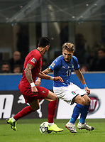 Football: Uefa Nations League Group 3match Italy vs Portugal at Giuseppe Meazza (San Siro) stadium in Milan, on November 17, 2018.<br /> Italy's Ciro Immobile (r) in action with Portugal's Jos&egrave; Fonte (l) during the Uefa Nations League match between Italy and Portugal at Giuseppe Meazza (San Siro) stadium in Milan, on November 17, 2018.<br /> UPDATE IMAGES PRESS/Isabella Bonotto