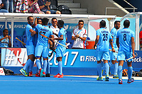 India players celebrate Pardeep Mor's goal to take the score to 6-0 during the Hockey World League Semi-Final match between Pakistan and India at the Olympic Park, London, England on 18 June 2017. Photo by Steve McCarthy.