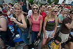 Megan Cooper, Karyn Brown and Carol Locker (L to R) were among the thousands that attended the 21st Annual Fremont Summer Solstice Parade in Seattle on June 20, 2009.  The parade was held Saturday, bringing out painted and naked bicyclists, bands, belly dancers and floats. (Jim Bryant Photo © 2009)
