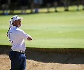 10th February 2018, Lake Karrinyup Country Club, Karrinyup, Australia; ISPS HANDA World Super 6 Perth golf, third round; Lee Westwood (ENG) in a bunker